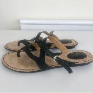 Born Nahala flat sandals, black leather size 10
